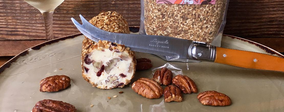 Spiced Pecan Dukkah crusted cream cheese roulade
