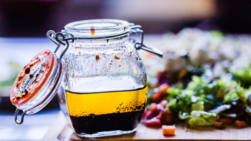 Warm winter salad with honey balsamic dressing