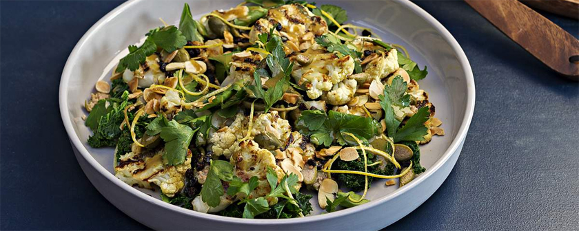 Grilled Cauliflower with Almonds, Kale and Currants