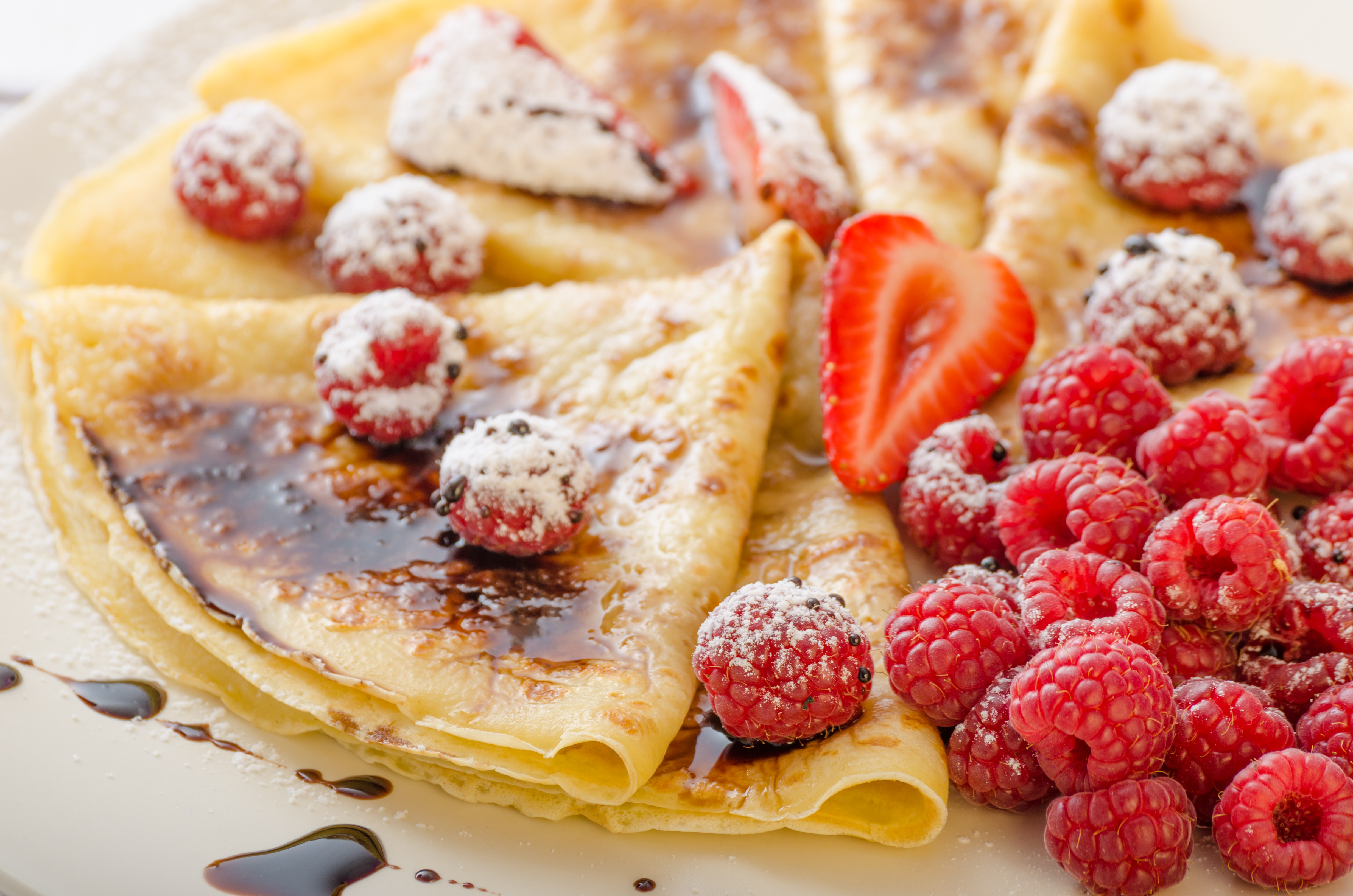 Crepes with Strawberries, Raspberries and Sticky Balsamic