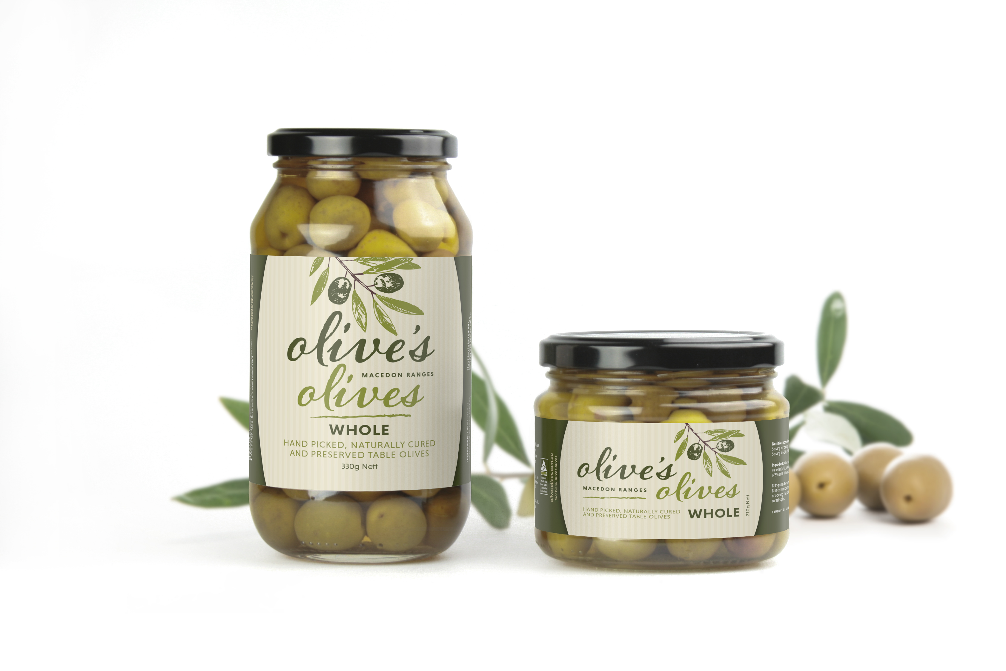 Olives in bottles 210 g & 320g bottle sizes